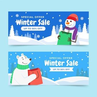 ホッキョクグマと雪だるまがセットされたフラット水平冬セールバナー
