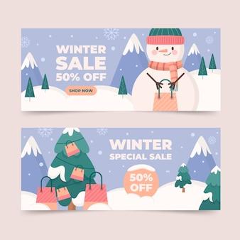 Плоские горизонтальные зимние распродажи баннеров