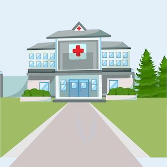 Flat hospital building illustration