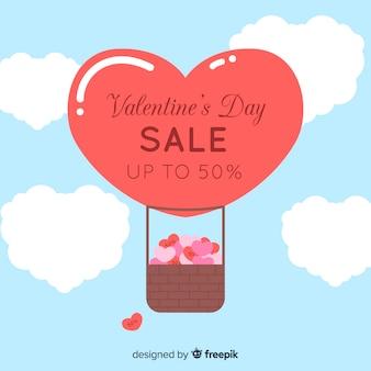 Flat hot air balloon valentine sale