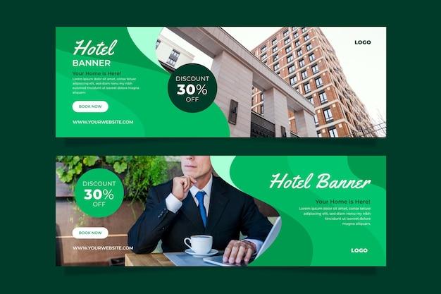 Плоский шаблон баннера отеля с фото