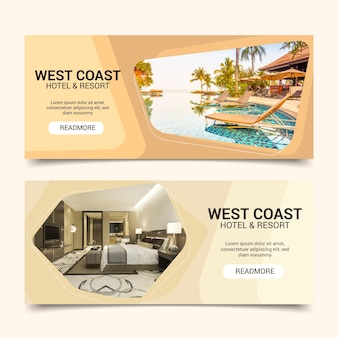 Flat hotel banner template with photo