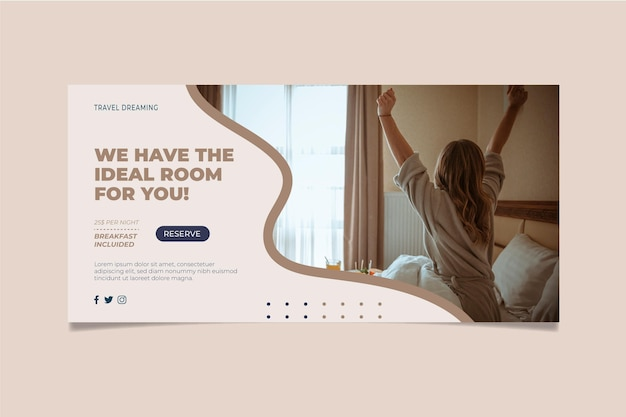 Flat hotel banner with photo