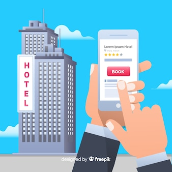 Flat hotel booking application background