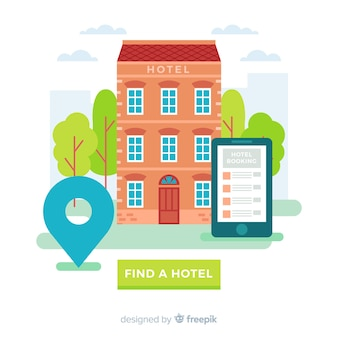 Flat hotel booking background template
