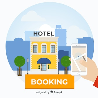 Flat hotel booking background