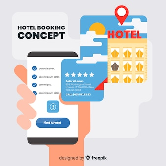 Flat hotel booking concept background