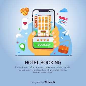 Flat hotel booking concept