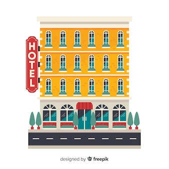Flat hotel building background