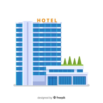 Flat hotel building illustration