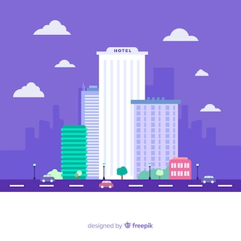 Flat hotel building illustration