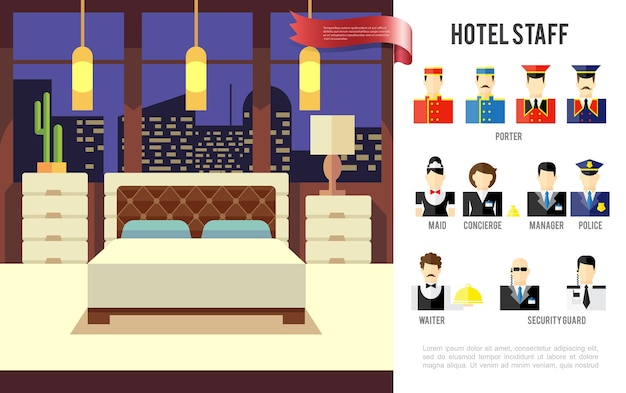 Flat hotel colorful concept