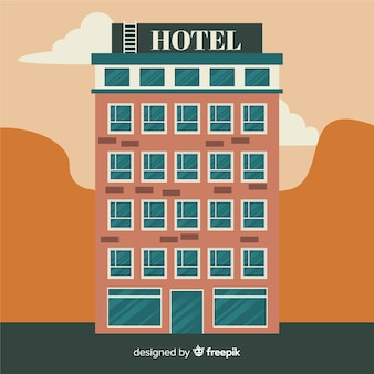 Flat hotel facade background