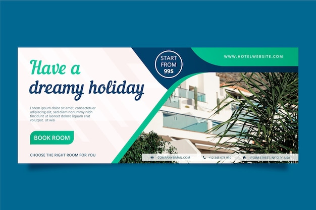 Flat hotel horizontal banner template with photo