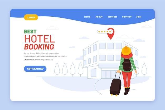 삽화가있는 평면 호텔 방문 페이지 템플릿