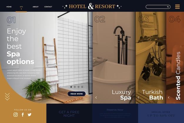 사진이 포함 된 평면 호텔 방문 페이지 템플릿