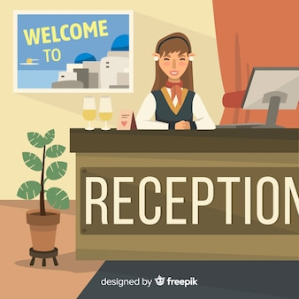 Flat hotel receptionist background