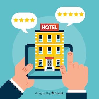 평평한 호텔 리뷰 배경