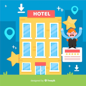 Flat hotel review concept background