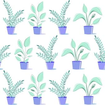 Flat houseplants in ceramic pots seamless pattern