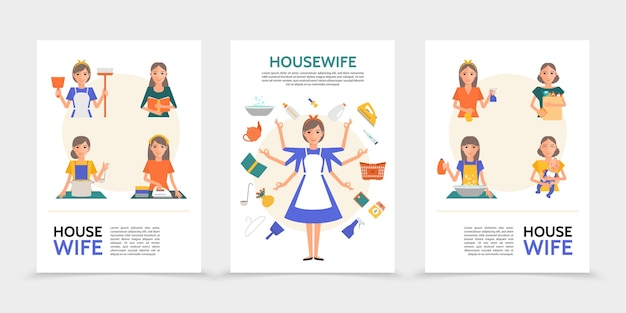 Плоские плакаты домохозяйки