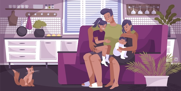 Flat hug family composition with mother father and two children hugging each other while sitting on the couch