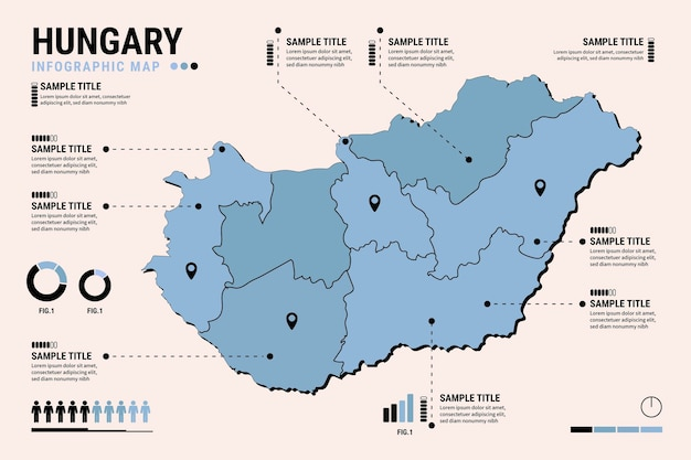 Плоская инфографика карты венгрии