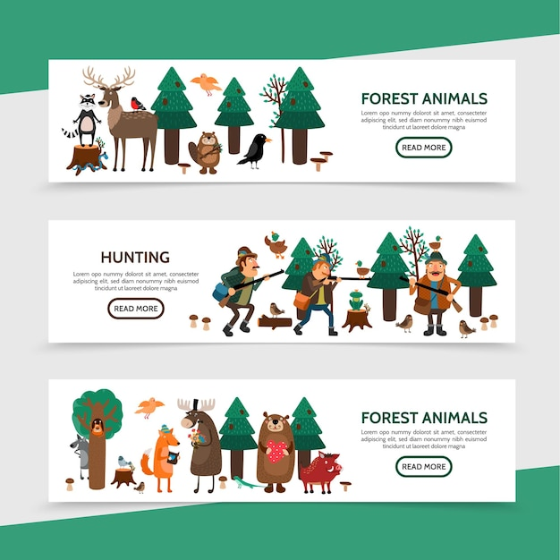 Flat hunting horizontal banners with hunters birds raccoon deer elk beaver frog snake fox bear wild boar in forest illustration