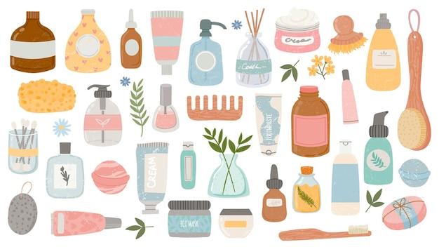 평면 위생 및 미용 제품. 화장품 병 및 튜브, 목욕 액세서리, 로션, 샴푸, 오일 및 스크럽. 유기농 스킨 케어 벡터 세트입니다. 그림 위생 병, 크림 및 로션