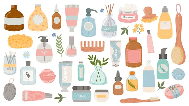 Flat hygiene and beauty products. cosmetic bottles and tubes, bath accessories, lotion, shampoo, oil and scrub. organic skin care vector set. illustration hygiene bottle, cream and lotion