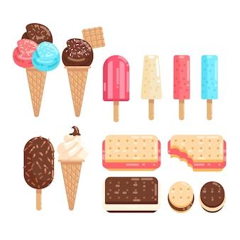 플랫 아이스크림 컬렉션