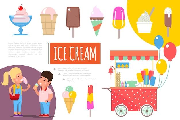 플랫 아이스크림 다채로운 구성 그림
