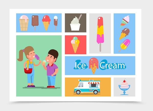 Composizione di gelato piatto