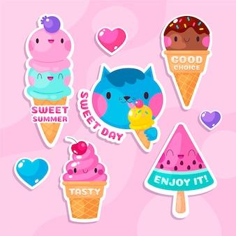 Коллекция иллюстраций плоского мороженого