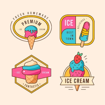 Flat ice cream label collection