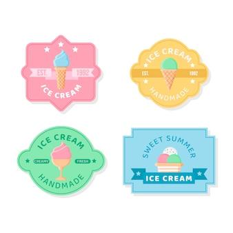 플랫 아이스크림 라벨 컬렉션