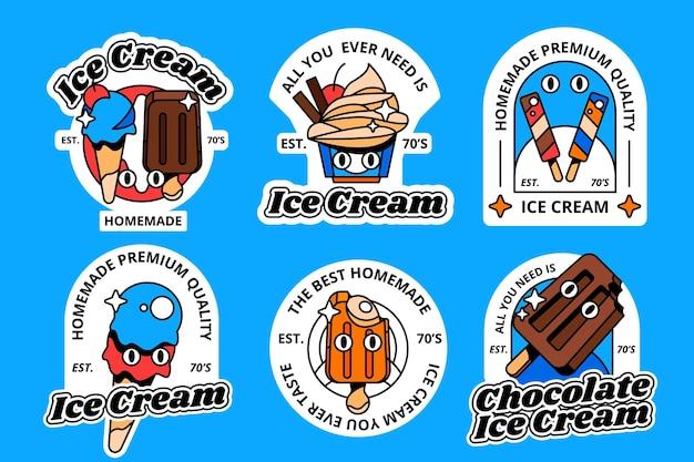 Collezione di etichette per gelato piatto
