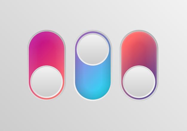 Плоский значок красочные переключатели onoff на белом фоне. значок тумблера, синий включен, серый выключен. шаблон для мобильных и веб-приложений. векторные 3d иллюстрации