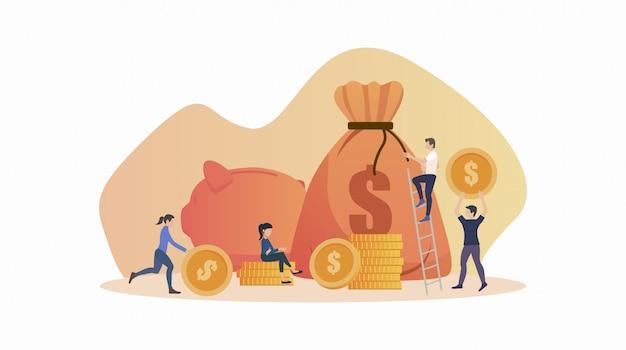 Концепция дизайна плоских иконок людей, экономящих деньги, кладя монету в большую сумку на белом фоне