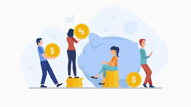 Концепция дизайна плоских иконок людей, экономящих деньги, кладя монету в большую копилку, изолированные на белом фоне