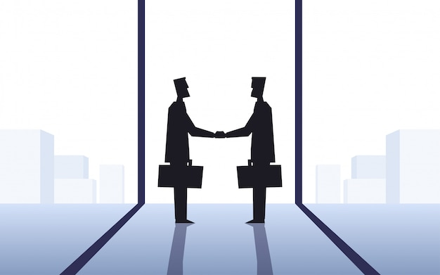 Flat icon design of silhouette two businessmen making handshake in office with cityscape background