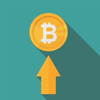 Flat icon design of uptrend line arrow up to bitcoin sign on blue color background