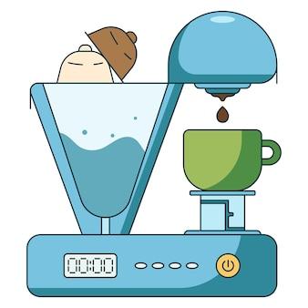コーヒーの淹れ方のフラットアイコンイラスト