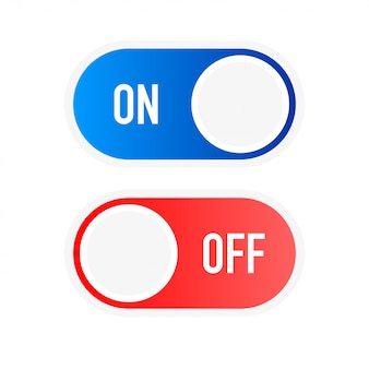 Flat icon on and off toggle switch button format.