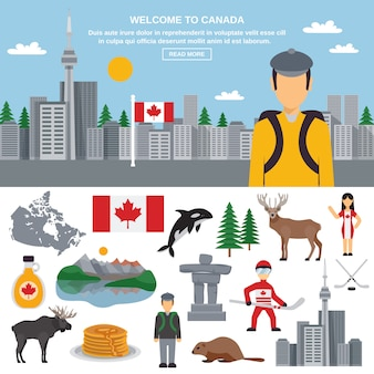 Flat icon set of canada