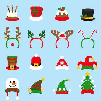 Flat icon set christmas carnivals caps