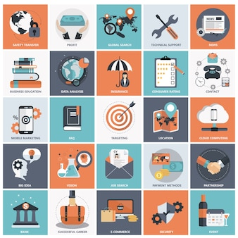 Плоский набор иконок для бизнеса