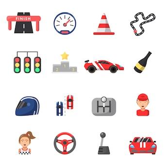 포뮬러 원 자동차와 경주 기호 평면 아이콘 세트
