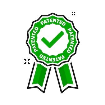 Плоский значок с зеленым запатентованным на белом фоне. векторная иллюстрация.