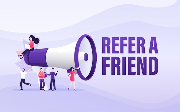 Flat icon with megaphone people refer friend poster banner